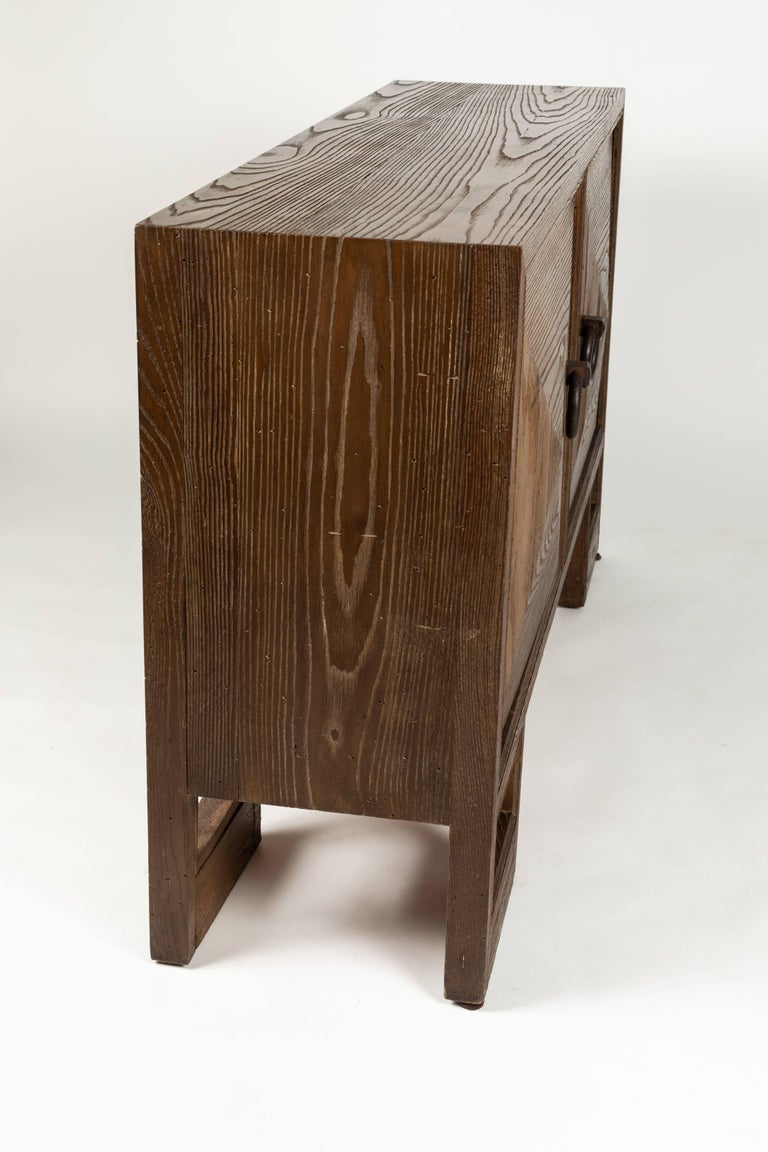 Custom 1940s Stained Oak Cabinet by James Mont For Sale 2