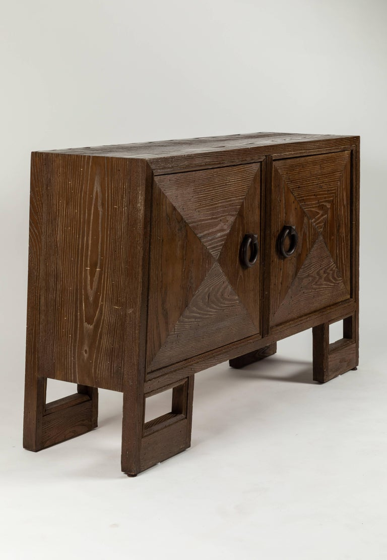 Brushed Custom 1940s Stained Oak Cabinet by James Mont For Sale