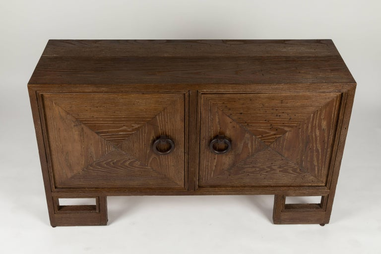 Wrought Iron Custom 1940s Stained Oak Cabinet by James Mont For Sale