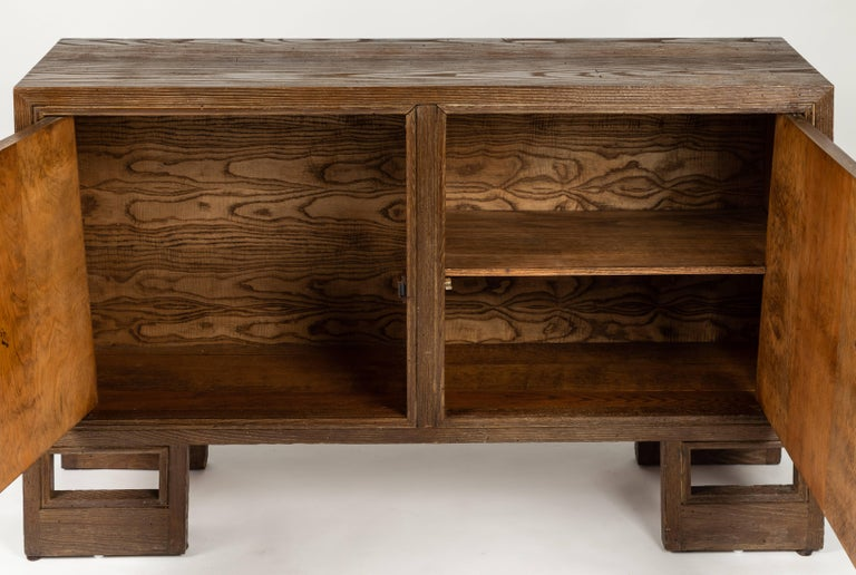Custom 1940s Stained Oak Cabinet by James Mont For Sale 1