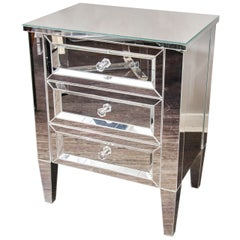 Custom 3-Drawer Mirrored Nightstand