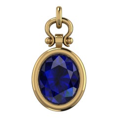 Custom 3.18 Carat Oval Cut Tanzanite Pendant Necklace in 18k