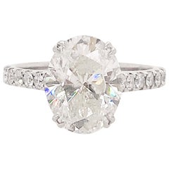 3.50 Carat Oval Diamond Engagement Ring Diamonds on Band 19 Karat Gold