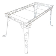 "Custom 4 Person Outdoor ""Circle 8"" Iron Table with Glass Top"