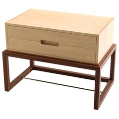Custom Oona Bedside in Oak and Walnut with Antique Brass Fittings
