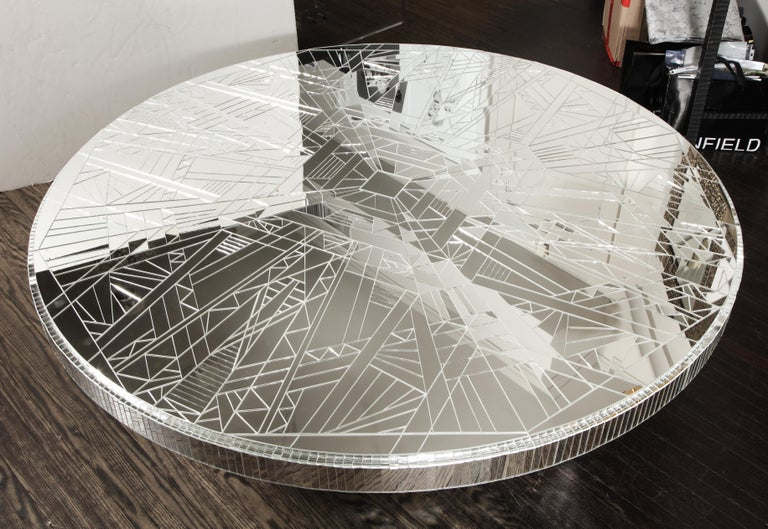 Mirrored coffee table available for order. Customization options are available upon request to finish, design, and dimensions. Measure: 60