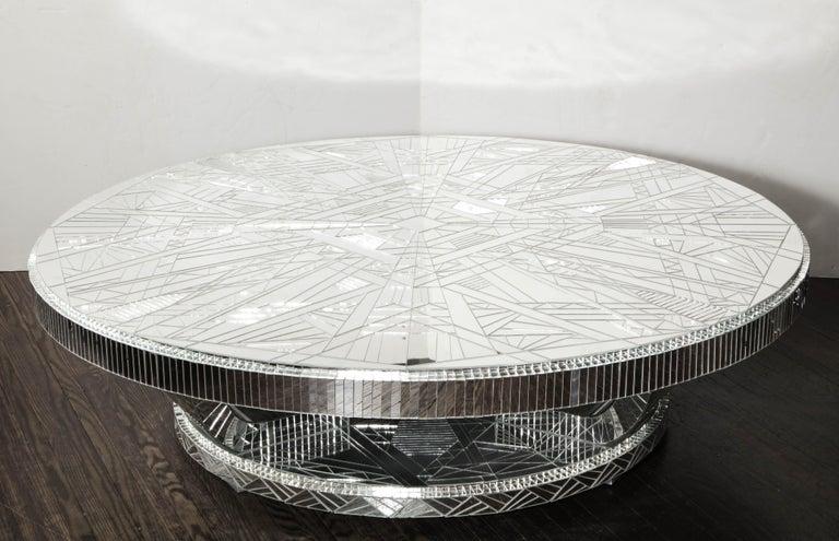 American Custom Art Deco Style Mirror Coffee Table For Sale