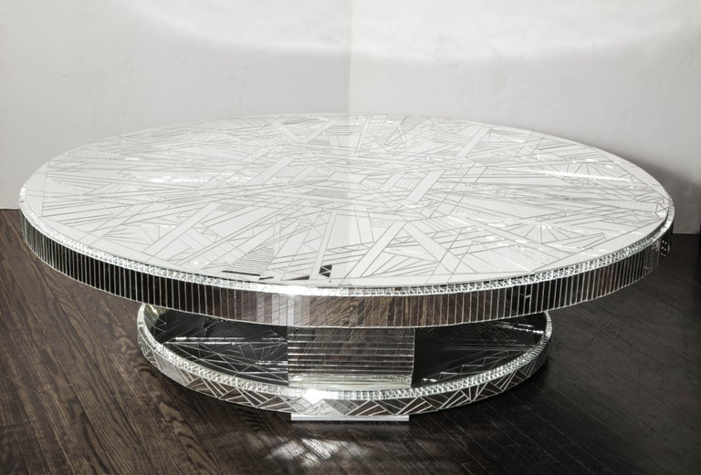 Custom Art Deco Style Mirror Coffee Table In New Condition For Sale In New York, NY