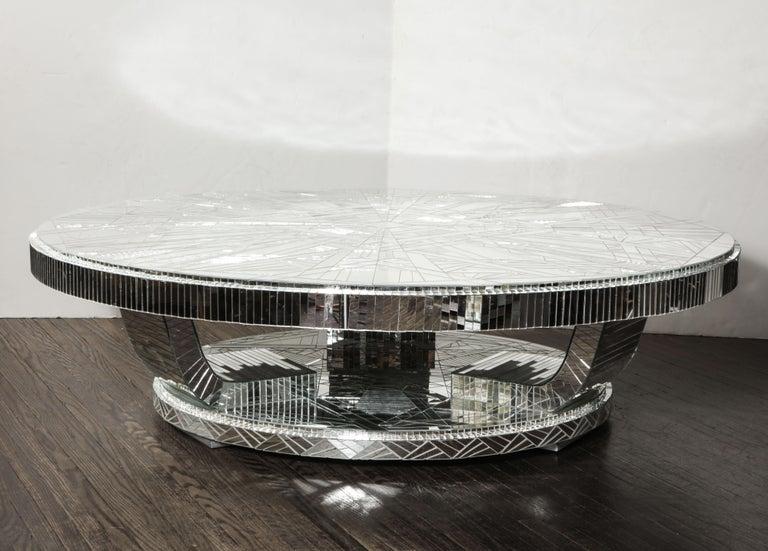 Custom Art Deco Style Mirror Coffee Table For Sale 1