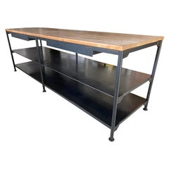 Custom Industrial Iron Base Teak Top Kitchen Island
