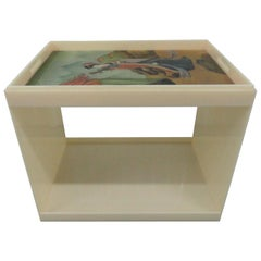 Custom Acrylic Table with Tray Top with Reverse Glass Painted Art