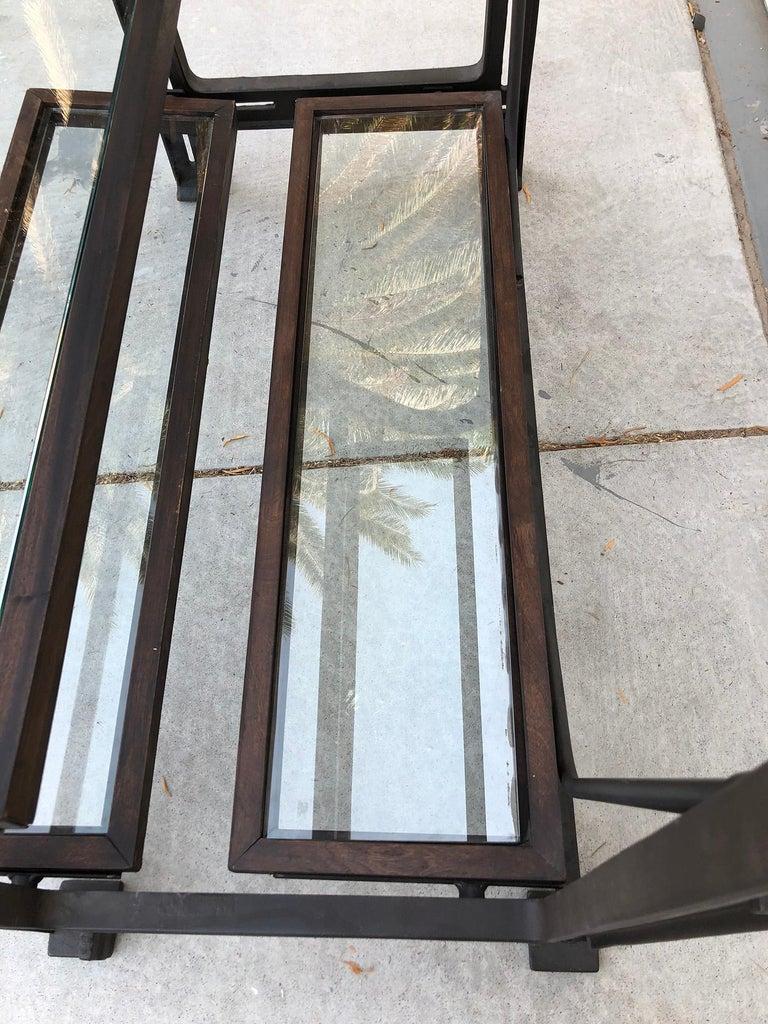 Industrial Custom AllSaints Spitalfields Walnut Iron and Glass Adjustable Shelving Display For Sale