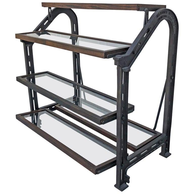 Custom AllSaints Spitalfields Walnut Iron and Glass Adjustable Shelving Display For Sale