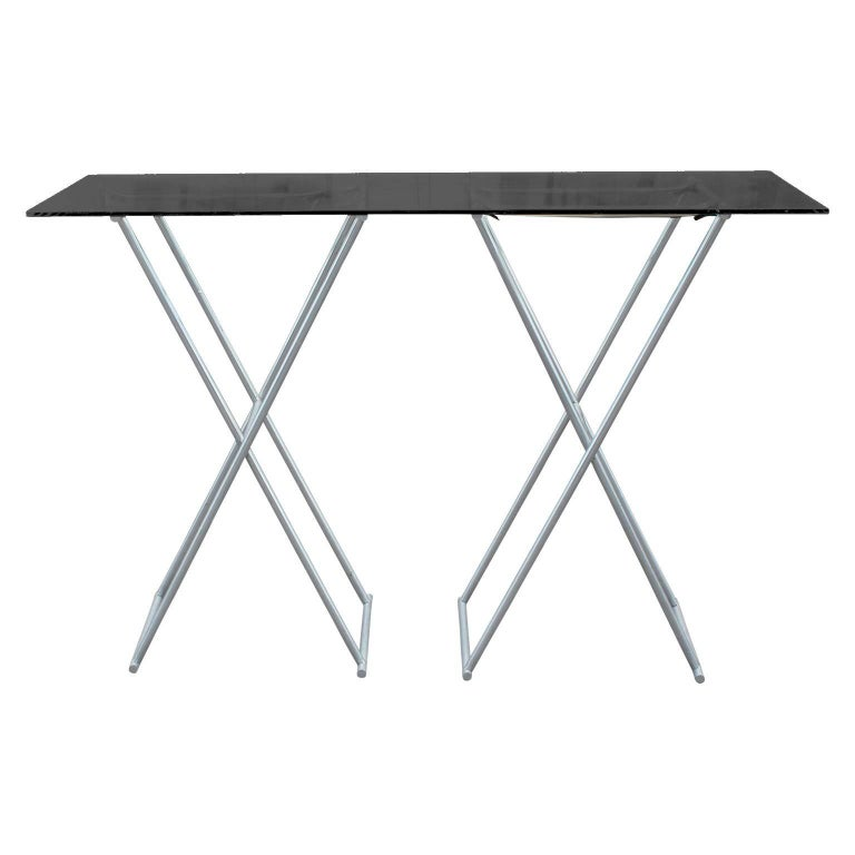 Custom Aluminum Folding Console Table With Leather Straps