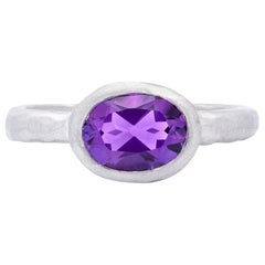 Custom Amethyst and 18 Karat White Gold Ring