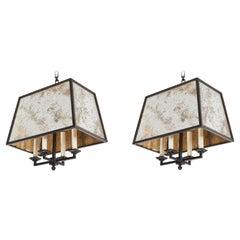 Custom Antique Mirror and Iron Pendants by Paul Ferrante