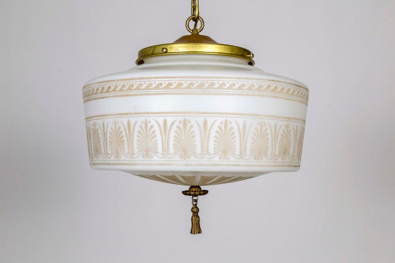 French Custom Antique White Milk Glass Pendant with Tan Painted Neoclassical Patterns For Sale