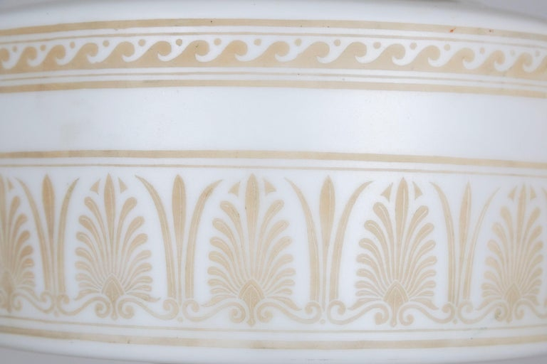 Custom Antique White Milk Glass Pendant with Tan Painted Neoclassical Patterns For Sale 1