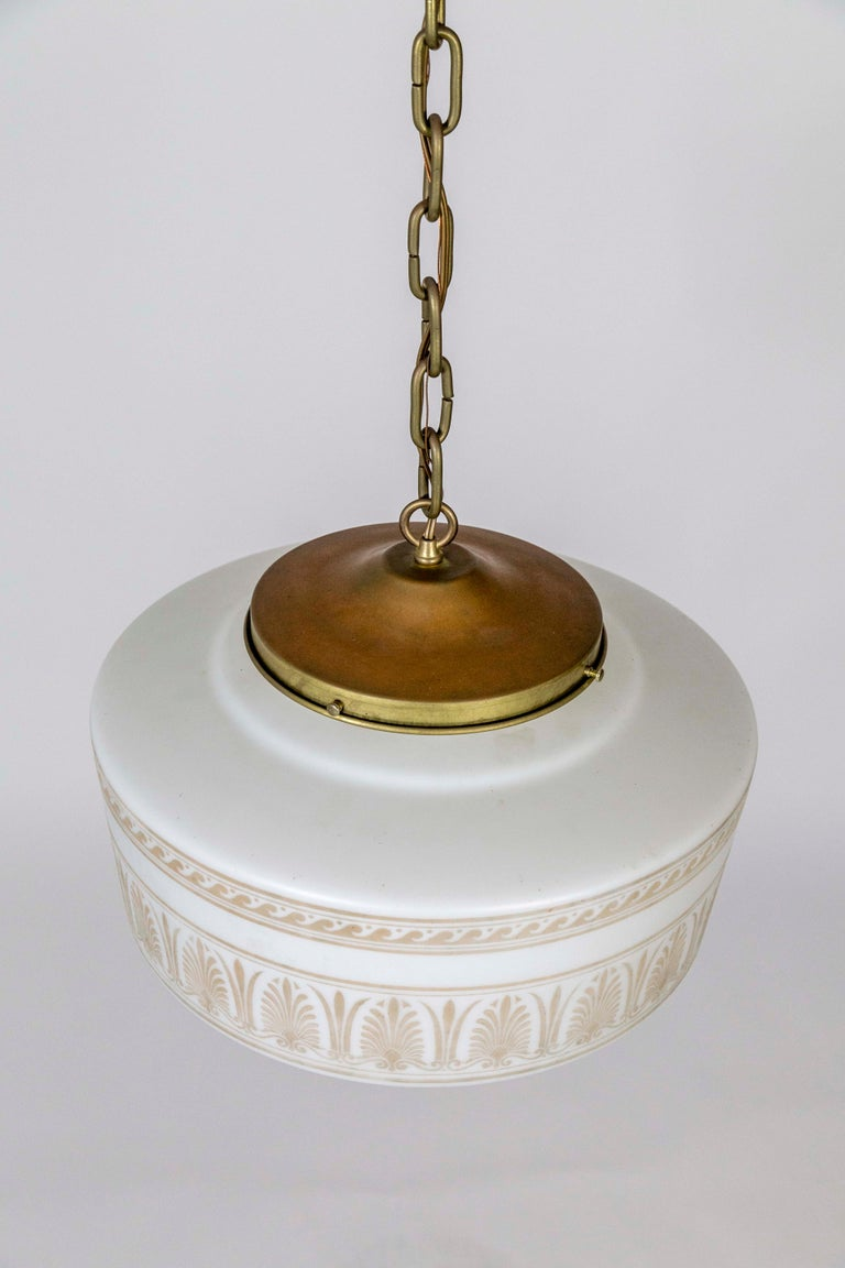 Custom Antique White Milk Glass Pendant with Tan Painted Neoclassical Patterns For Sale 2