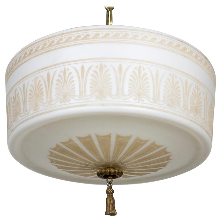 Custom Antique White Milk Glass Pendant with Tan Painted Neoclassical Patterns For Sale
