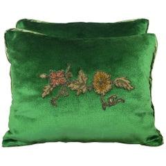 Custom Appliqued Green Silk Velvet Pillows, Pair