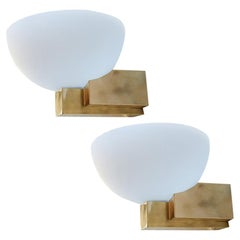 Custom Art Deco Midcentury Style Brass and White Glass Sconces by Adesso Imports
