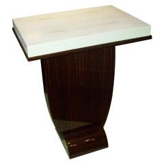 Custom Art Deco Style Macassar Ebony Table with Shagreen Top