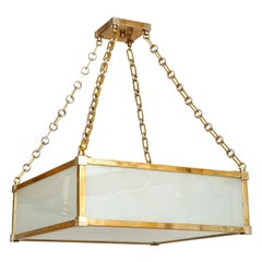 Custom Art Deco Style Nickel and Brass-Plated Pendant Fixture