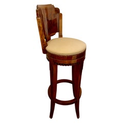 Custom Art Deco Swivel Wood Bar Stool Exotic Woods