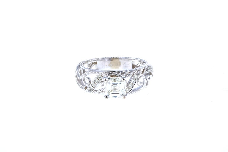 Art Deco Custom Asscher Diamond Engagement Ring with Side Diamond Pave For Sale