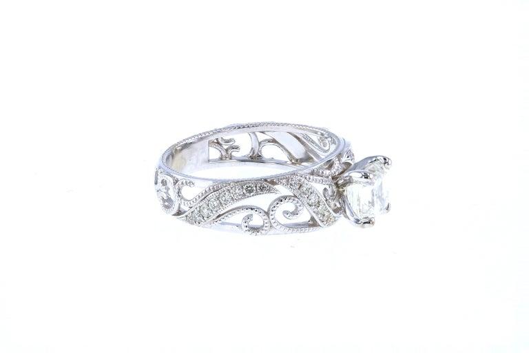 Asscher Cut Custom Asscher Diamond Engagement Ring with Side Diamond Pave For Sale