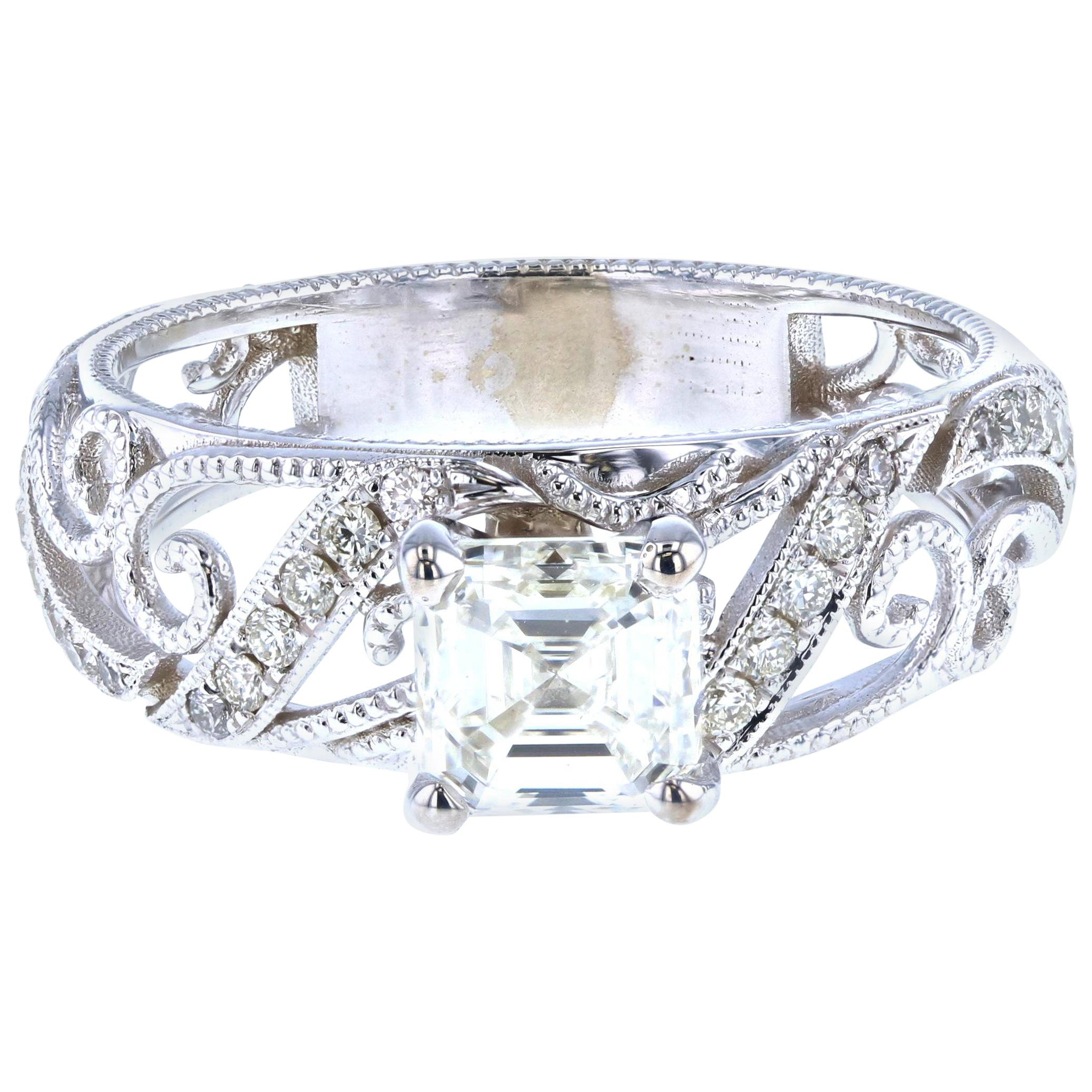 Custom Asscher Diamond Engagement Ring with Side Diamond Pave