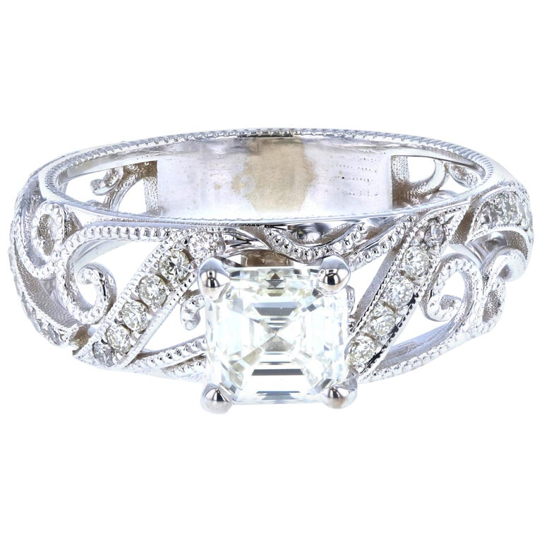 Custom Asscher Diamond Engagement Ring with Side Diamond Pave For Sale