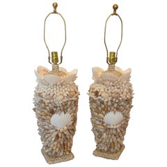 Custom Bahamian Pair of Shell Lamps