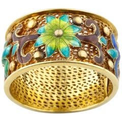 Custom Band Ring with Multi-Color Enamel Flowers in 14 Karat Yellow Gold