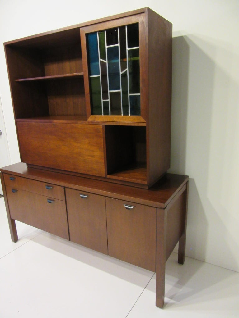 Wood Custom Bar Cabinet / Credenza in the Style of Midcentury Jens Risom