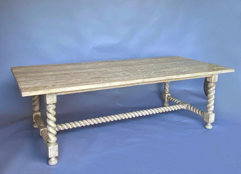 Dos Gallos custom barley twist table seen here in oak with custom finish. Can be made in any size in a variety of finishes. As shown 96 x 44 x 30. All our custom pieces are bench made and hand finished in Los Angeles by Dos Gallos Studio.