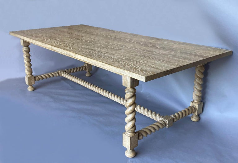 International Style Custom Barley Twist Dining Table in Oak For Sale
