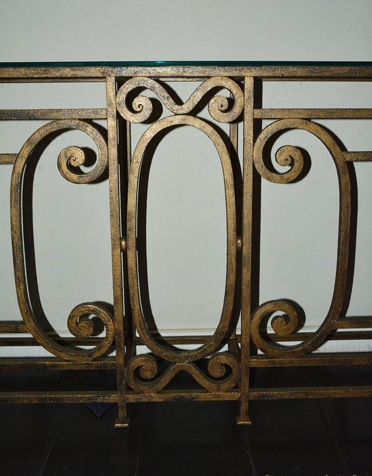 American Custom Baroque-Style Wrought Iron Console Table or Server Base For Sale