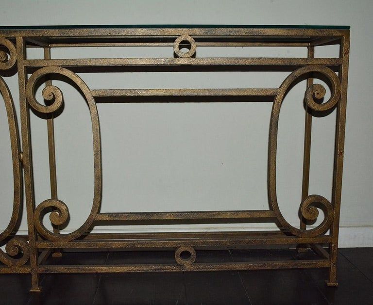 Custom Baroque-Style Wrought Iron Console Table or Server Base In Good Condition For Sale In Great Barrington, MA