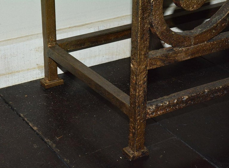 Custom Baroque-Style Wrought Iron Console Table or Server Base For Sale 1