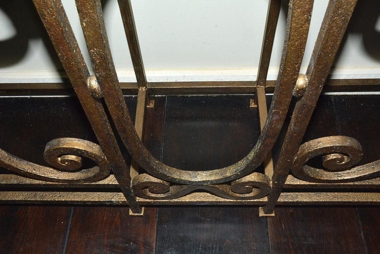 Custom Baroque-Style Wrought Iron Console Table or Server Base For Sale 3