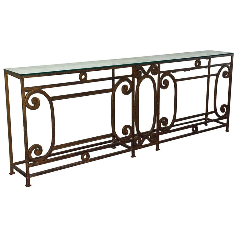 Custom Baroque-Style Wrought Iron Console Table or Server Base For Sale
