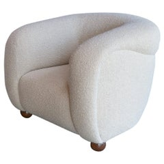 Custom Barrel Lounge Chair in Ivory Boucle by Adesso Imports