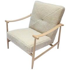 Custom Beige Oak & Ivory Sheepskin Midcentury Style Armchairs by Adesso Imports
