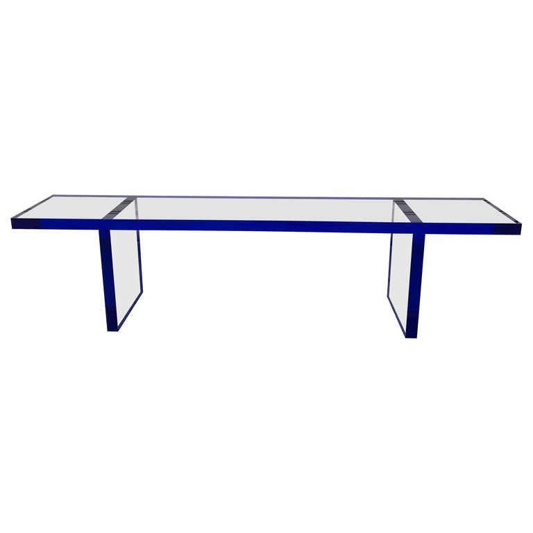 Custom Bench in Deep Blue and Clear Lucite by Cain Modern For Sale