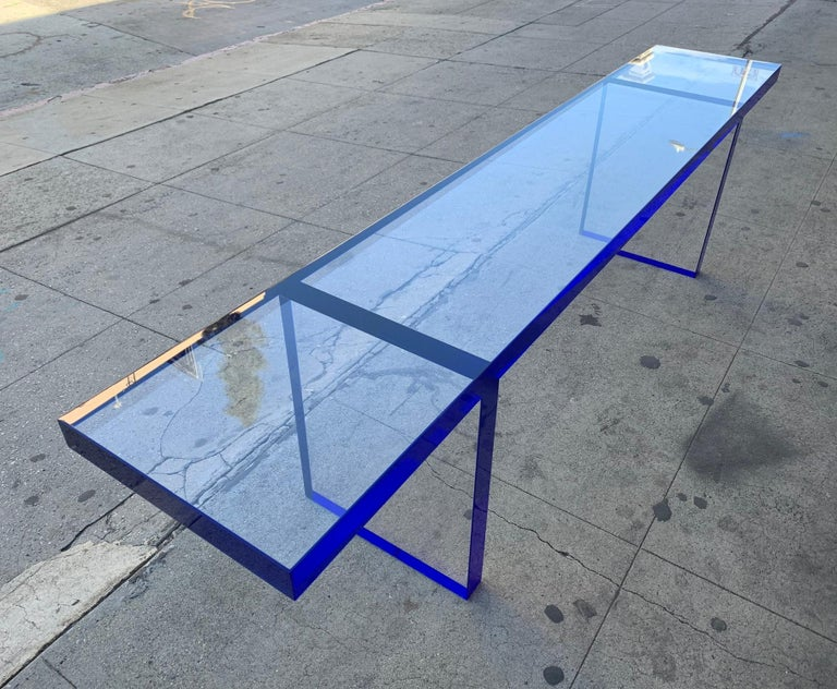 Custom Bench in Deep Blue and Clear Lucite by Cain Modern For Sale 5