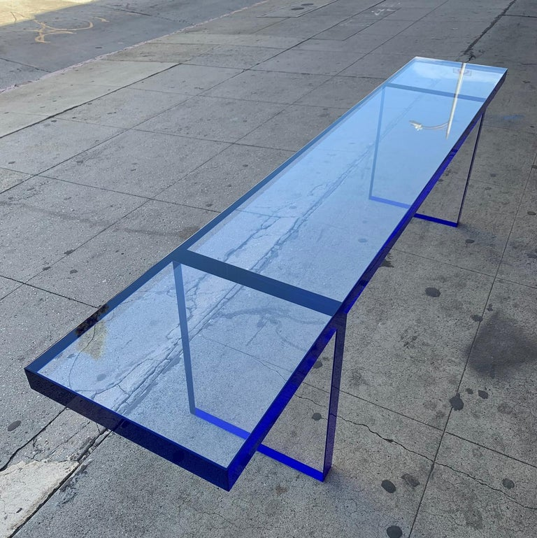 Custom Bench in Deep Blue and Clear Lucite by Cain Modern For Sale 6