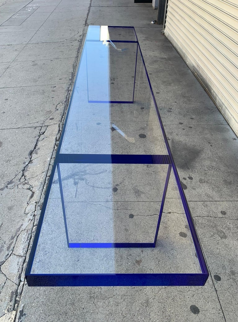 Custom Bench in Deep Blue and Clear Lucite by Cain Modern For Sale 7
