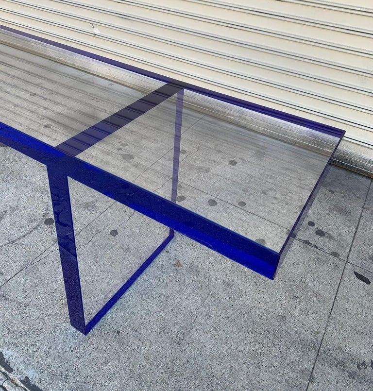 Custom Bench in Deep Blue and Clear Lucite by Cain Modern For Sale 8